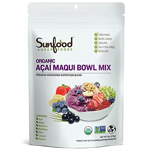 Sunfood Superfoods Acai Maqui Bowl Mix Powder. No Added Sugars, Artificial...