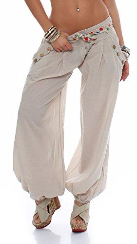 Malito Damen Pumphose in Unifarben   leichte Stoffhose   super Freizeithose für den Strand   Haremshose - lässig 3417 (beige)