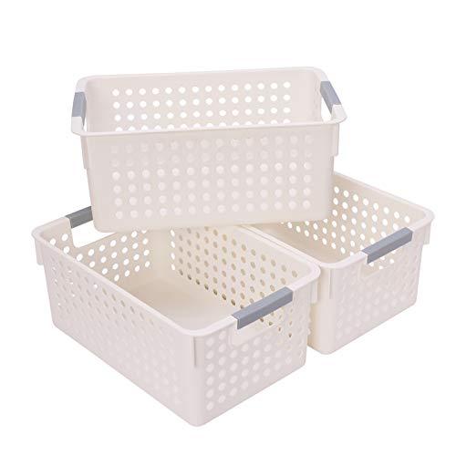 JAKAGO Paquete de 3 cestas de almacenamiento portátil de plástico para nevera, baño, escritorio, caja de almacenamiento sin tapa para cocina, baño, dormitorio, color blanco, M