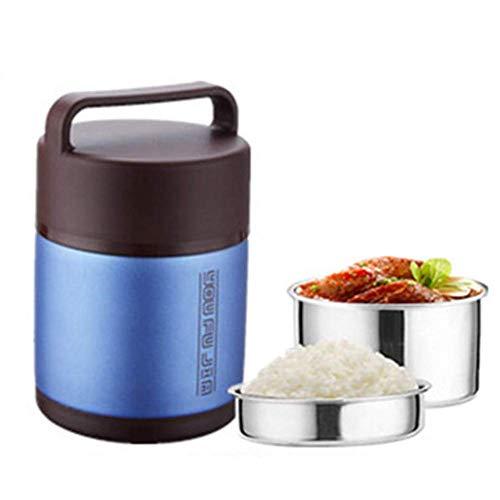 Thermos alimentaire, récipient isolé par vide d'acier inoxydable, double plateau 1.6L d'aspirateur de grande capacité approprié à l'école/bureau,Blue