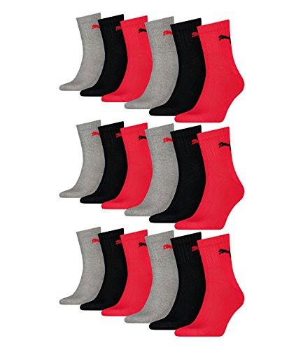 Puma 231011001 - Calzini sportivi unisex da tennis, 18 paia (6 confezioni da 3), taglia: 39-42, articolo: 232, nero/rosso