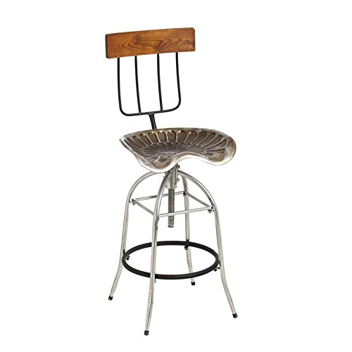 Cape Craftsmen Beautiful Springtime Brushed Metal and Wood Pitch Fork and Tractor Stool - 18 x 17 x 44 Inches Fade and Weather Resistant Decoration for Homes, Apartments, Yards and Gardens