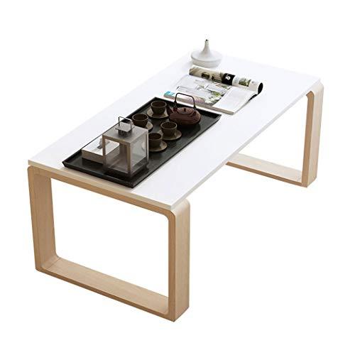 QIAOLI Pequeña mesa de café de madera maciza Mesa moderna Bay Ventana Piso Pequeña Mesa de café de madera maciza para sala de estar