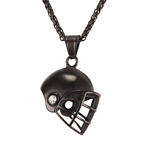 Helmet Necklace Gold Color Stainless Steel Pendant & Chain For Men Ice Hockey Fitness Accessories Sport Jewelry 55cm