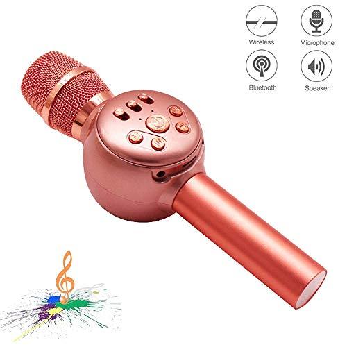 JASZW Kabelloses Bluetooth-Karaoke-Mikrofon, Multifunktions-LED-Licht für Karaoke-Player, tragbares 3-in-1-Hand-Karaoke-Mikrofon/Geschenk für Freunde und Kinder,2