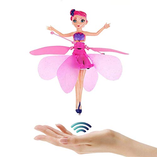 Hand Operated Drone, Flying Toys with Rechargeable Mini Infrared Induction Drone,Flying Drone Kids Toys for 5, 6, 7, 8, 9, 10, 11, 12 Year Old Boys or Girls Gifts (red/Flying Fairy Doll)