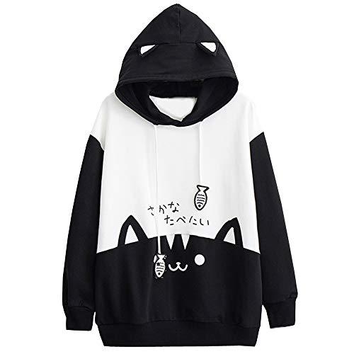 Womens Casual Long Sleeve Kitty Cat Print Pocket Thin Hoodie Blouse Top Shirt Fashion Autumn Hooded Sweatshirt Black