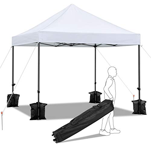 YAHEETECH 10x10ft Outdoor Folding Instant Pop Up Canopy Tent Wedding Party Shelter w/Wheeled Carrying Bag and Sand Bags