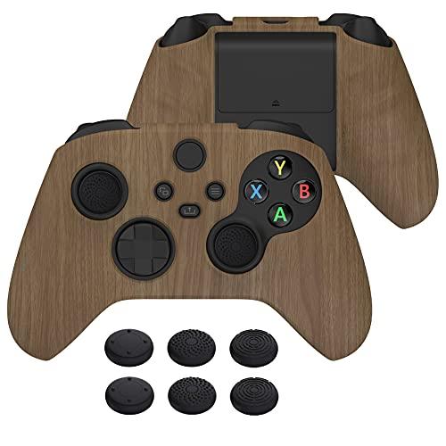 PlayVital Funda de Transferencia de Agua para Xbox Series X S Mando Protector Antideslizante Carcasa de Silicona Estuche de Goma con 6 Tapas de Joysticks para Xbox Series S X Control(Grano de Madera)