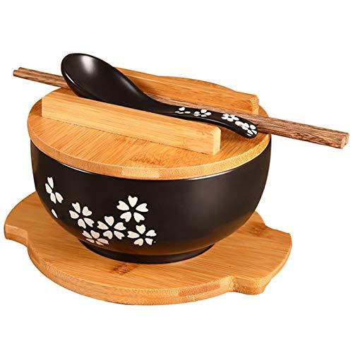 YDong 1000 Ml Keramik Nudel Schale L?ffel Schüssel Matte mit Deckel Instant Nudel Schale Koreanische Suppen Schüssel Reisschale Besteck Set