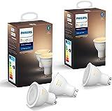 Philips Hue White Ambiance 3 bombillas LED inteligentes GU10, luz blanca de cálida a fría, compatible con Bluetooth y Zigbee (Puente Hue opcional), funciona con Alexa y Google Home