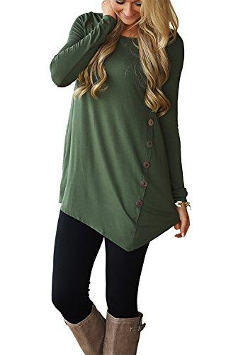 CoCo Fashion Herbst Sweatshirt Damen Langarm Shirt Casual Oberteil Asymmetrisch Shirt Tunika mit Zierknöpfe (EU S, Armeegrün)