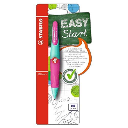 Ergonomischer Druck-Bleistift für Rechtshänder - STABILO EASYergo 1.4 in türkis/neonpink - Einzelstift - inklusive 3 dünner Minen - Härtegrad HB