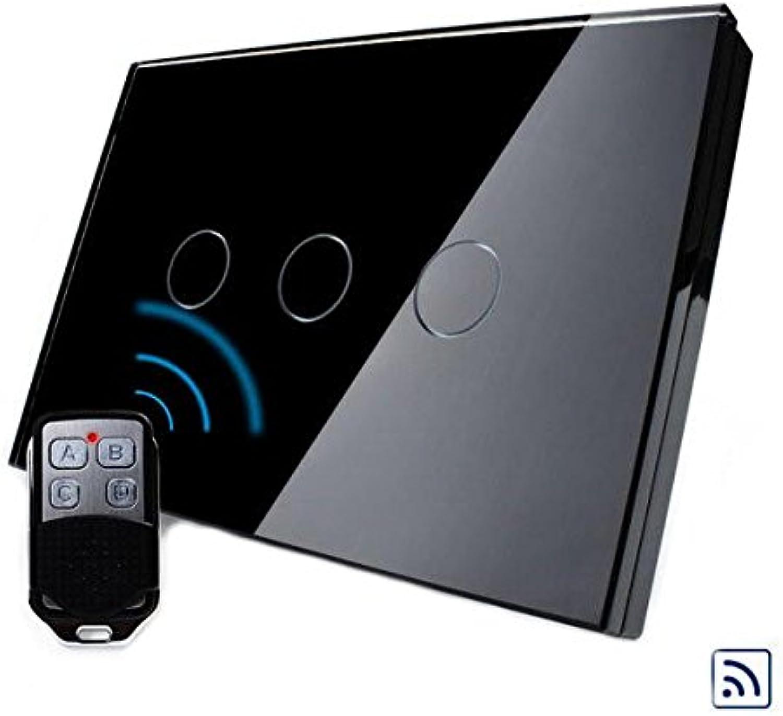 Bazaar Livolo Schwarz-Kristallglas-Touch & Fernschalter VL-C303R-82 AC110-250V