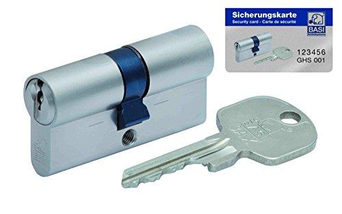 BASI Schließsysteme BASI 3-AX Doppelzylinder 30/50 mm, inkl. 3 Schlüssel und Sicherungskarte, 4105-3050