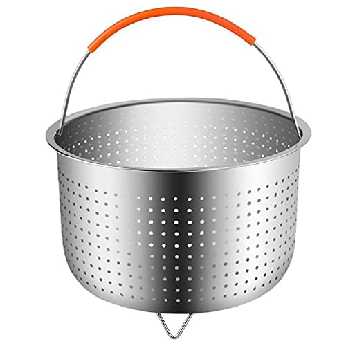 Kitchen Stainless Steel Steamer Basket with Silicone Covered Handle for 3/6/8 Quart Pressure Cooker Cleaning Drainer Stainless Steel Steamer Basket