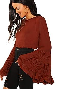 Floerns Women s Casual Boho Ruffle Long Bell Sleeve Tops Tee Shirt A Brown S