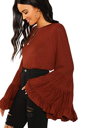 Floerns Women's Casual Boho Ruffle Long Bell Sleeve Tops Tee Shirt A Brown S