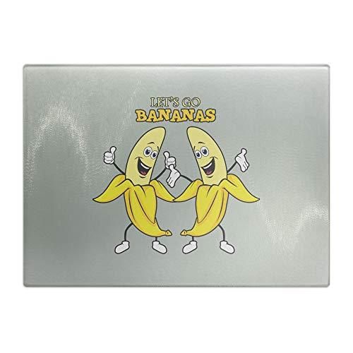 Lass uns gehen Bananas Funny Shirt | Tabla de cortar de cristal para desayunar tablas impresas, antideslizante y resistente a los arañazos ⭐