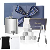 Ondiomn Premium Whiskey Stones Gift Set for Women-with 8 Pcs Marble Beverage Chill Stones, Flask with Funnel-Chill For Scotch, Rum, Tequila, Cold Juice-Best Gift for Christmas Thanksgiving Anniversary