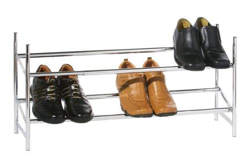 Premier Housewares 2-Tier Extendable Shoe Rack Small Shoe Storage Silver Shoe Racks Storage Chrome Shoe Rack Small Shoe Rack Adjustable 35.5x62-113x22