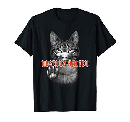 Abstand halten Katze Maske - Sicher durch Pandemie Geschenk T-Shirt
