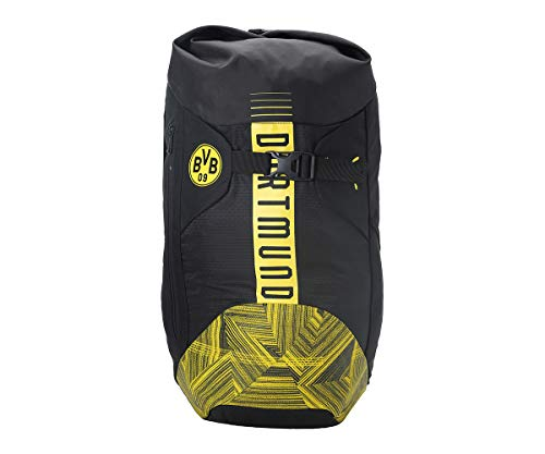 PUMA Unisex– Erwachsene BVB FtblCulture Rolltop Backpack Rucksack, Black-Cyber Yellow, UA