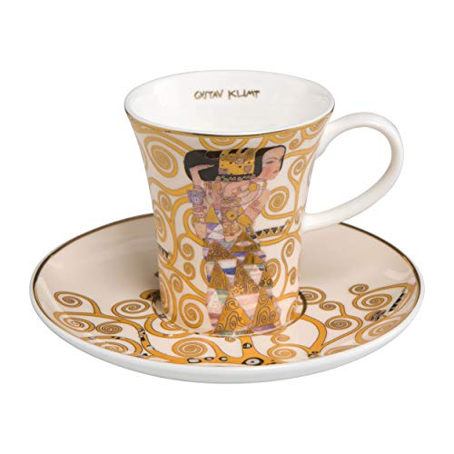 Goebel - Die Erwartung - Espressotasse mit Untertasse - Bone China Porzellan - Gustav Klimt 0,1 l