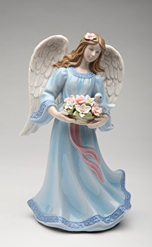 """Cosmos Gifts 80112 Fine Porcelain Angel with Bluebird & Flowers Basket Musical Music Box Figurine (Music Tune: Morning Mood by Edvard Grieg), 8"""" H"""