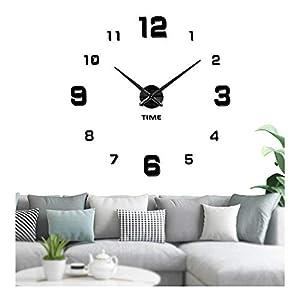 Vangold Reloj silencioso 3D adhesivo efecto cristal para pared, sin marco, tamaño grande, para decorar la oficina o casa, negro-2 años de garantía