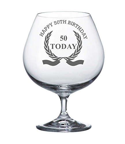 Bohême cristal Brandy verre avec Design Happy 50e couronne Anniversaire