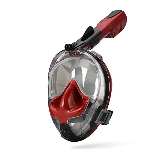 Seaview 180°GoPro Compatible Snorkel Mask- Panoramic Full Face Design See More with Larger Viewing Area Than Traditional Masks Prevents Gag Reflex with Tubeless Design