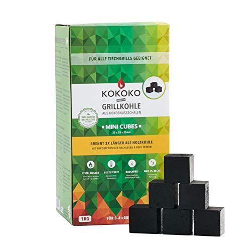 KOKOKO MINI CUBES Premium Grillkohle für Tischgrills, 1 kg Bio Kokos Grillbriketts