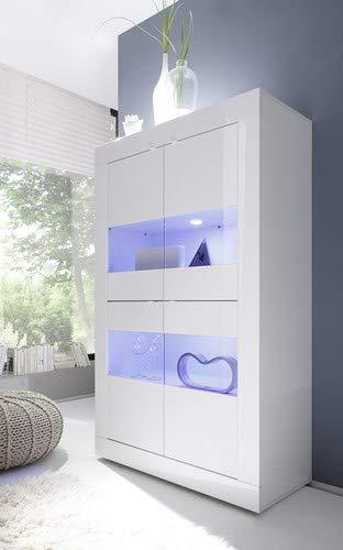 L&C Basic Vetrina, Legno, Bianco Lucido, 102 x 42 x 161 cm