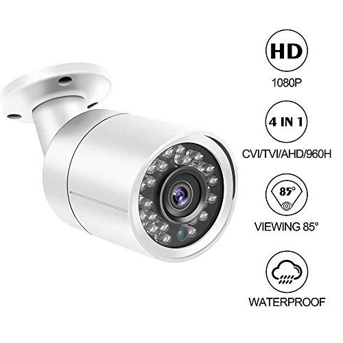 Cámara para Exteriores Bullet Dericam 1080P 1920TVL, cámara analógica HDCVI/HDTVI/AHD/960H, Carcasa de Metal IP66, 25M de visión Nocturna, ángulo de visión de 85°, Formato de Video PAL, B2W, Blanco