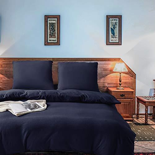 softan 2 Teilig Bettwäsche Set aus Fleece, Weiche und Atmungsaktive Mikrofaser-Bettbezug-Set mit Reißverschluss, Einfarbig, 1 Bettbezug 135x200cm + 1 Kopfkissenbezug 80x80cm,Dunkelblau