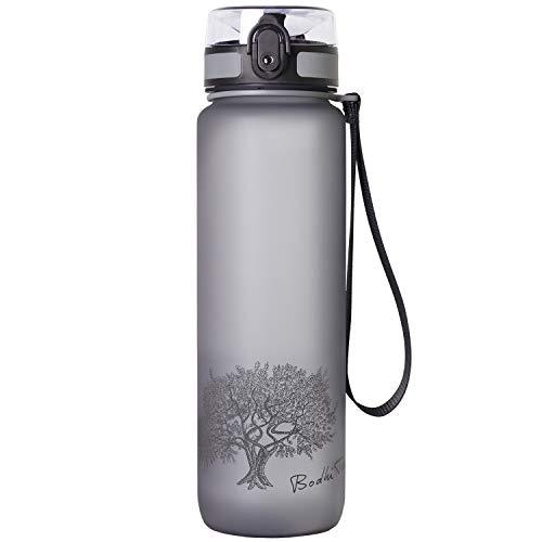 Bodhi Tree Trinkflasche 1L - 650ml - Wasserflasche Water Bottle - auslaufsicher, leicht, nachhaltig - Flasche mit Filter - BPA frei - Sportflasche für Fitness, Yoga, Sport, Wandern, Laufen, Outdoor