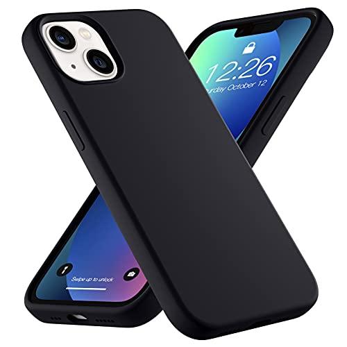 Upeak Liquid Silikon Hülle Kompatibel mit iPhone 13 Hülle 2021, 6.1 Zoll Anti-Schock Handyhülle DREI Schichten Komplette Schutzhülle Cover Bumper für Damen Herren, Schwarz