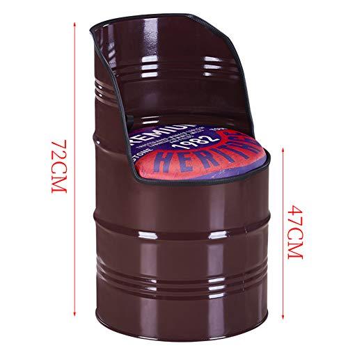 LYCIL Vintage Rotondo Pouf Contenitore,Contenitori di Stoccaggio Barile con Backrest Sgabello Stile Industriale Cassapanca Sedia da Pranzo per All'Aperto Giardino Patio Bar Brown