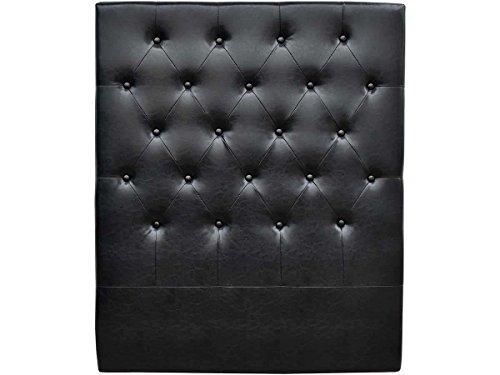 habitatetjardin Cabecero de Cama Acolchado 90 cm Déco en PVC - Negro