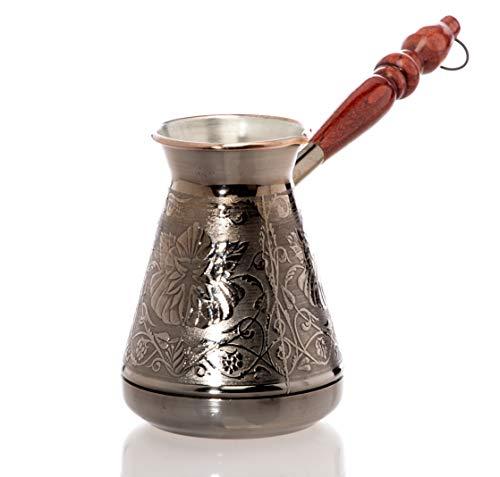 Kupfer kaffeekanne Cezve Ibrik Kaffeekocher Blume Kochen eines orientalischen türkischen griechischen Kaffeegetränks mit einem Volumen von 600 ml.