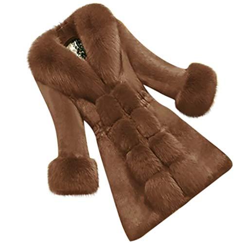 Vrouwen Winter Warm Faux Bont Slanke Jas Dames Lange Mouw Effen Kleur Kantoor Mode Jas Outwear