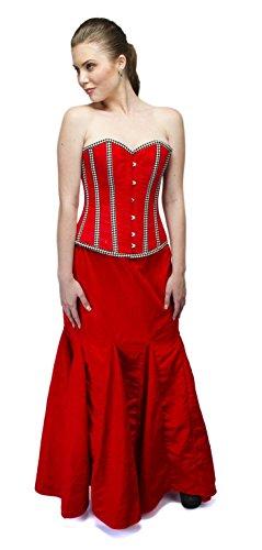 Cors de terciopelo rojo a rayas Burlesque Halloween fiesta de baile de graduacin