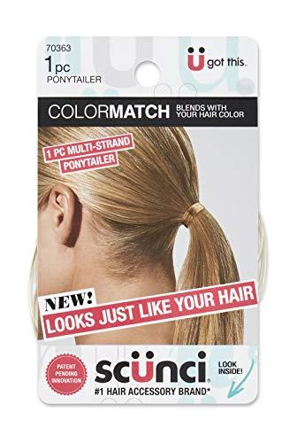 Scunci Color Match Multi-Strand Ponytailer Hair Elastic, Blonde