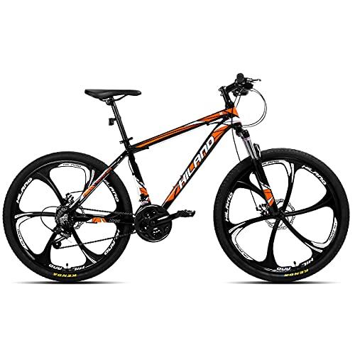 AL132621_OR-jio Hiland 26 pollici mountain bike MTB in alluminio con 17 pollici telaio in alluminio freno a disco 6 raggi Shimano 21 velocità cambio sospensione forcella black&orange