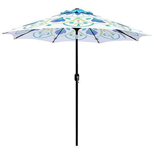 ABBLE Outdoor Patio Umbrella 9Ft Crank &Tilt Printed Umbrella Market Umbrella Picnic Table Umbrella Pool Umbrella for Garden, Deck, Backyard and Beach- Printed