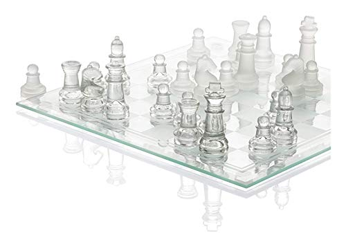 WANGZHI Juego de ajedrez de cristal fino de 25,4 cm, piezas de ajedrez de vidrio sólido con parte inferior acolchada de cristal, tablero de ajedrez para jóvenes y adultos