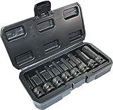 AERZETIX - Caja/Juego de 8 Puntas/Vasos de Impacto H6-H19 - Imán/Magnético - 1/2x78mm - Llave de Impacto/Trinquete Manual/Neumático - Hexagonal/6 Lados Allen - CR-MO - Negro - C45885