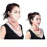 elledk UV カット スカーフ フェイス カバー マスク 付き レディース 紫外線 対策 日焼け 防止 オシャレ アームカバー付き (OR-26)