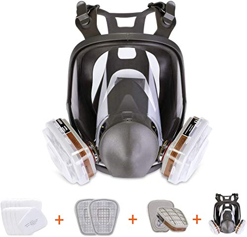 15in1 Full Face cover Large Size Respirator,Full Face Wide Field of View,Widely Used in Organic Gas,Paint spary, Chemical,Woodworking(for 6800 Respirator)